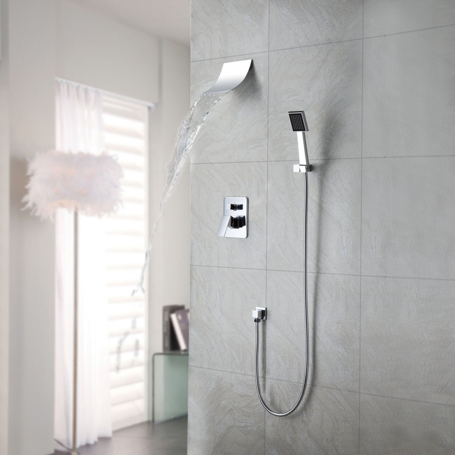 Contemporary Shower Lightinthebox Contemporary Wall Mount Widespread Waterfall Shower