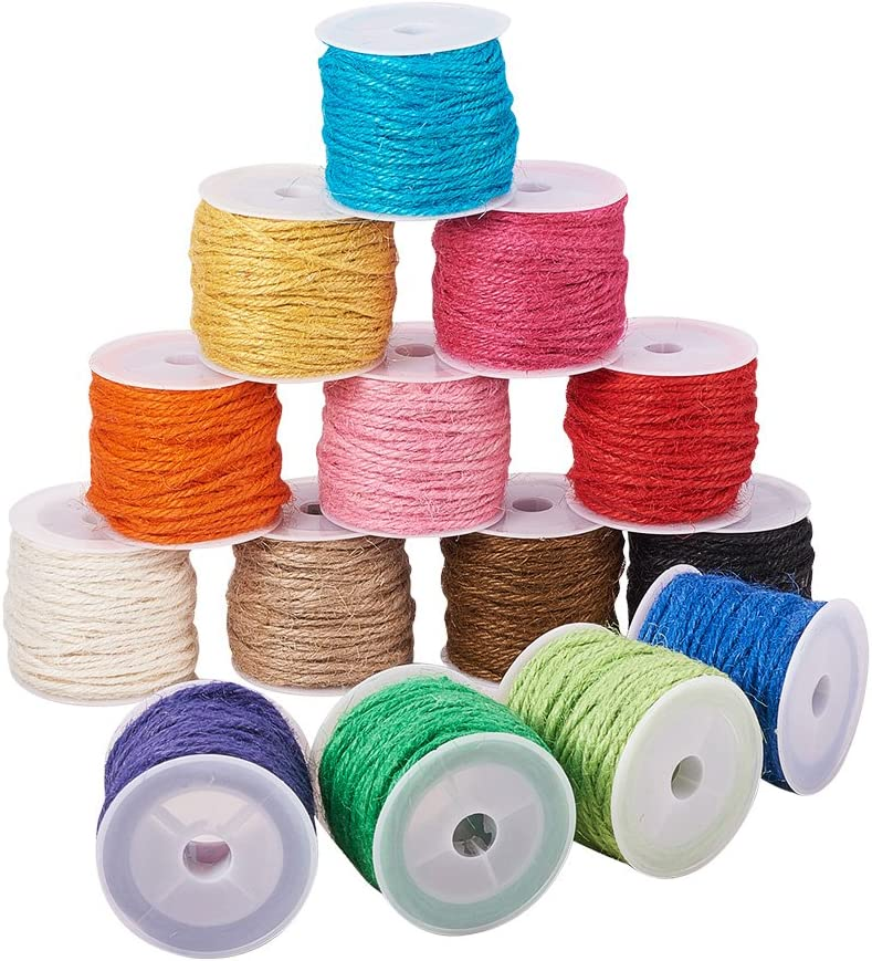 Electric cable coloured jute//Black-Jute//Cherry Fabric Raw yarn