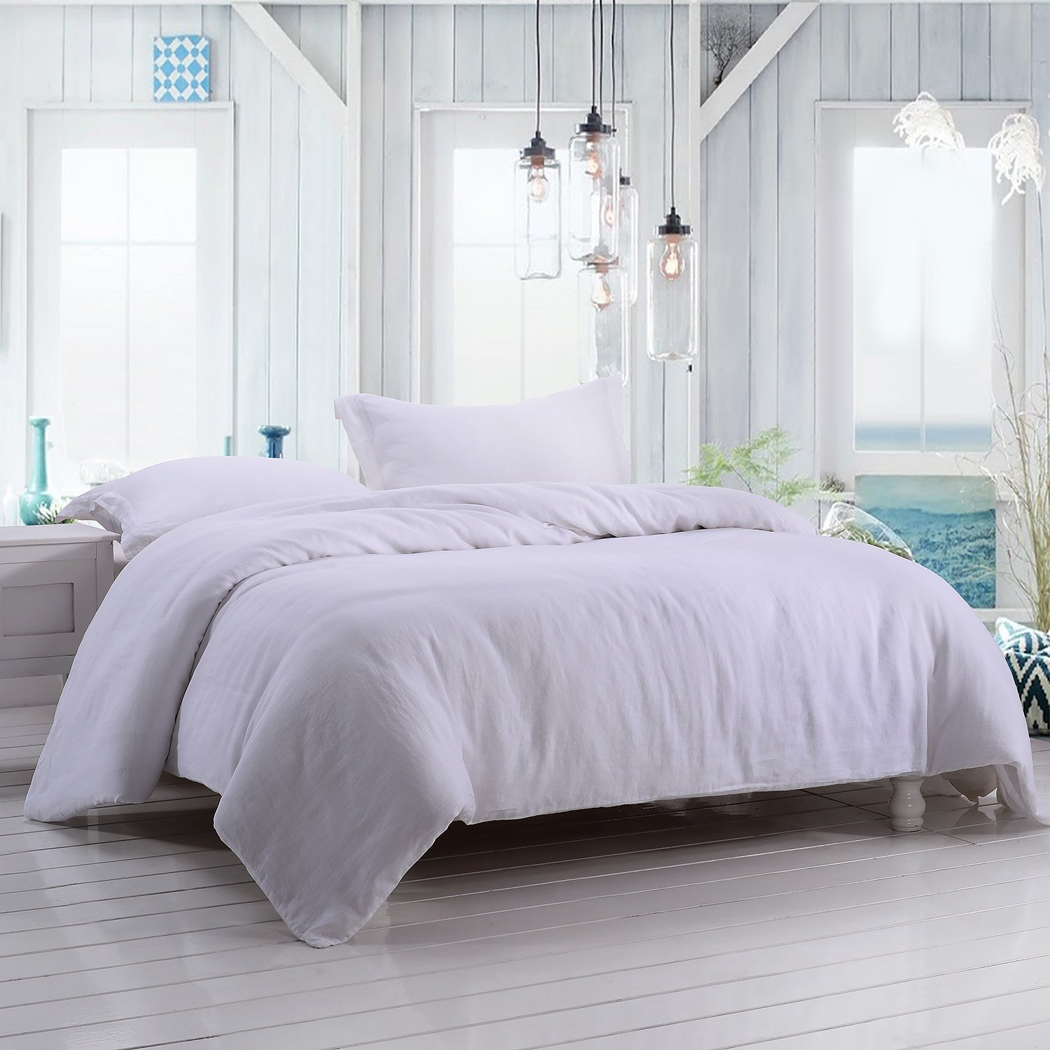Simple&Opulence 100% Linen Stone Washed 3pcs Basic Style Solid Duvet Cover Set (Full, White)