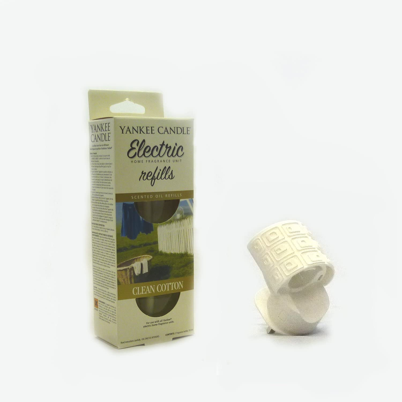 Yankee Candle aroma-conector (blanco) + algodón limpio doble para ...
