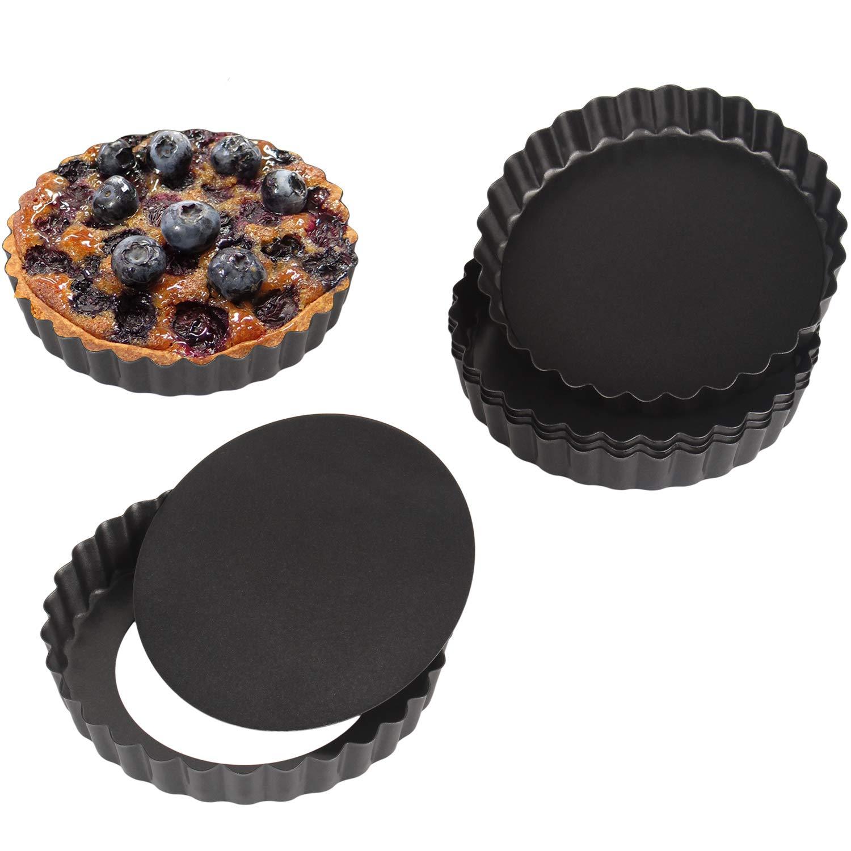 Non stick 4 Inch Quiche Pans Removable Bottom Mini Tart Pans Set Tart Mold Cheesecake Pan Tart Mold Set of 6 Round Shape by Kitchenwarehouse