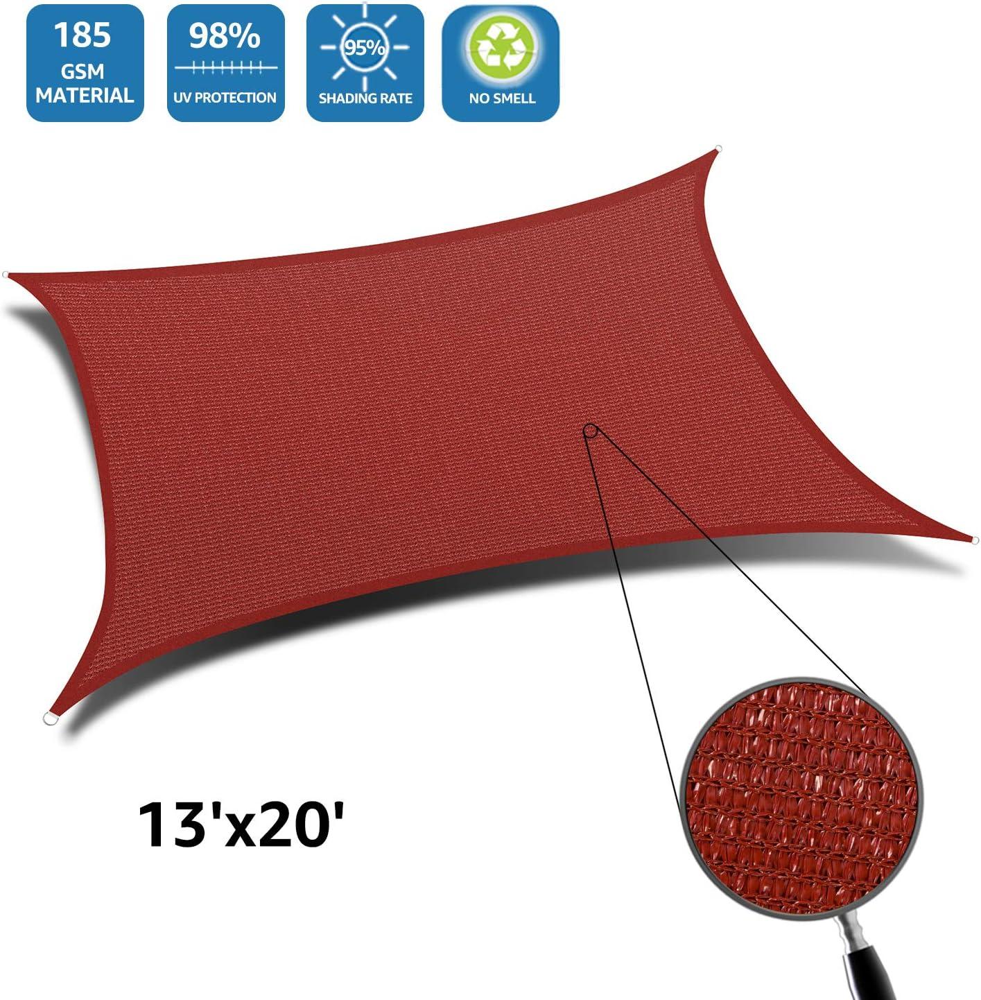 Terra DOEWORKS Rectangle 13 X 20 Sun Shade Sail UV Block for Outdoor Patio Garden Facility and Activities