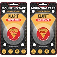 2pcs of KLAPiT SUPER TAPE Slim 3 Meter Hold 300LB/136kg, Uses Enhanced Nano Technology CLEAR & STRONG Magic Improvement…