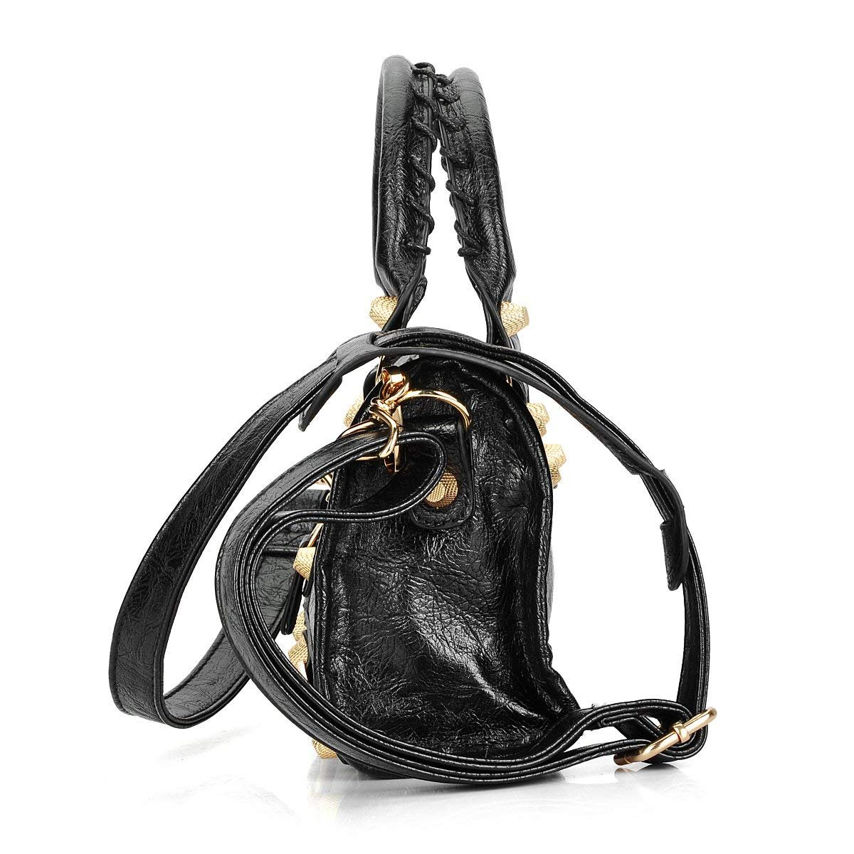 Gold-Tech Women Leather Big Gold Color Studed Motorcycle Bags 38cm Medium Size Shoulder Bag 2 Colors (24cm Black) by Gold-Tech (Image #2)
