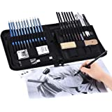40pcs/ Set Professional Sketching Drawing Pencils Kit Including Sketch Graphite Charcoal Pencils Willow Sticks Erasers…