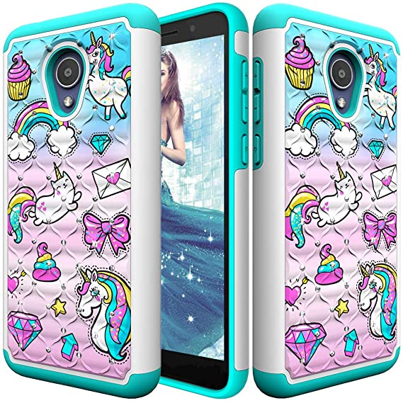 3D Bumper Case for Alcatel TCL LX (A502DL)/ Alcatel IdealXtra/Alcatel 1X  Evolve, CASE4YOU Bling Diamond Cover TPU PC Shockproof Armor Full Body