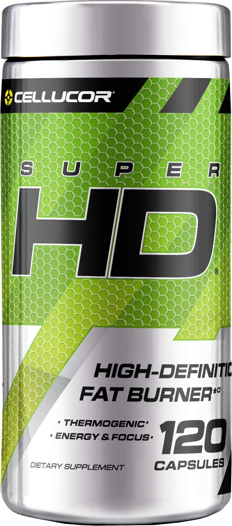 Cellucor SuperHD Thermogenic Fat Burner & Energy Booster for Men & Women, Antioxidant & Weight Loss Supplement with Nootropic Focus, 120 Capsules