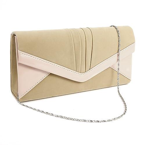 Anladia Contrast Color Faux Leather Trim Velvet Clutch Structured Chain Shoulder Handbag