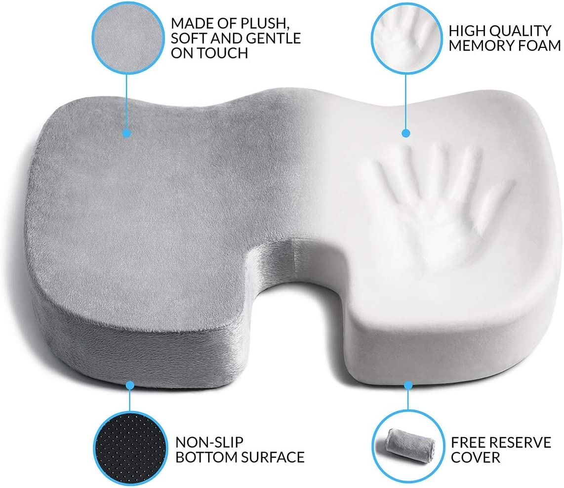 Memory Foam Seat Cushion with Extra Cover, for Office Chair, Car, Truck or Airplane with Bonus Cover, Orthopedic Donut Shape Coccyx Chair Pad for Tailbone Pain Relief, Sciatica, Hemorrhoids