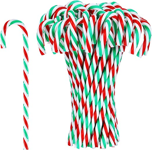 """Pack 14 Candy Canes Red//Green Acrylic Christmas Tree Decorations  5/"""""""