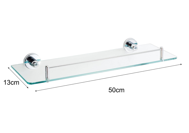 50 cm Axentia Mensola da Parete per Bagno con finitura cromata e ripiano in vetro trasparente