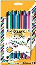 BIC Clic Stic Fashion Bolígrafo de punta media, (1.0mm) 18-Pack Blister, surtido (csmap18)