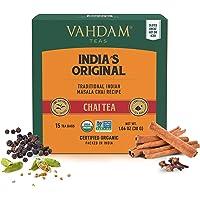 VAHDAM, India's Originele Masala Chai, 30 Theezakjes, 100% Natuurlijke Kruiden ZONDER Toegevoegde SMAAKSTOFFEN - Gemengd…