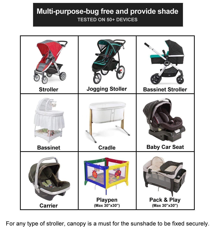 Schwarz Baby Sonnenverdeck f/ür Buggy /& Sportwagen|Blockiert bis zu 99/% UV UPF50+|Sonnendach und hilft Babys zu schlafen Universalgr/ö/ße Sonnenschutz f/ür Kinderwagen
