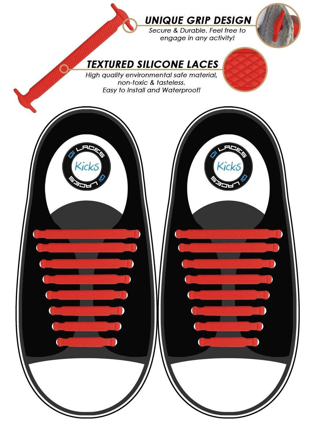 Makes Any Sneaker a Quick Comfy Slip On No Tie Shoelaces for Kids /& Adults Elastic /& Silicone Shoe Laces to Replace Your Shoe Strings