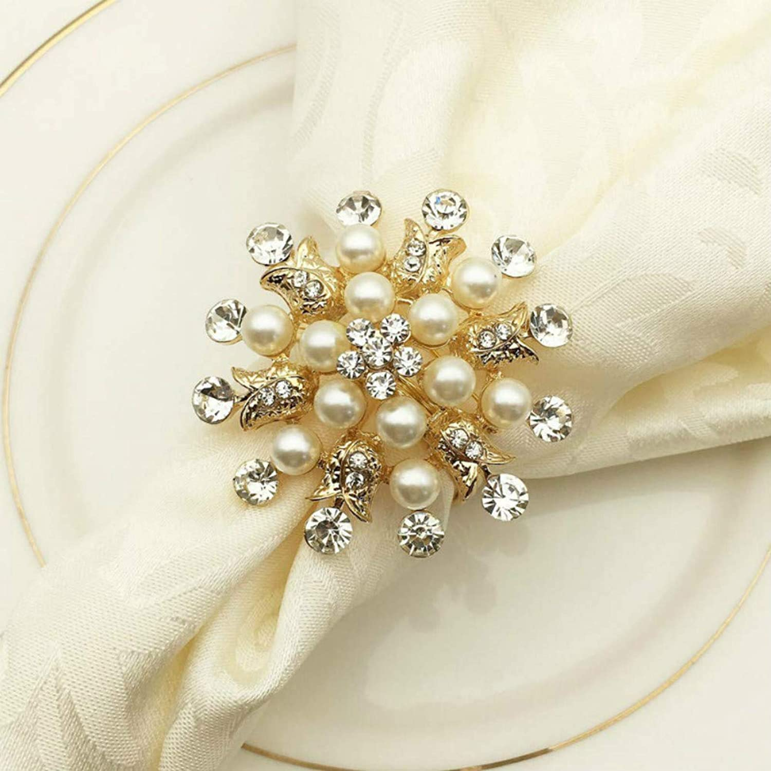 Pearl Flower Hollow Out Napkin Rings Wedding Dinner Table Decor