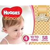 Huggies Ultimate Nappies, Girls, Size 4 Toddler (10-15kg), 58 Count