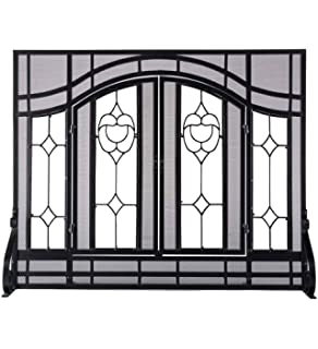 Small Beveled Glass Diamond Fireplace Screen With Alternating Panels And  Small Powder Coated Tubular Steel