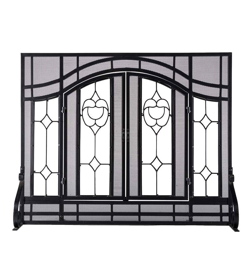 Small Beveled Glass Diamond Fireplace Screen With Alternating Panels And Small Powder-Coated Tubular Steel Frame 38 W x 31 H Black Finish by Plow & Hearth