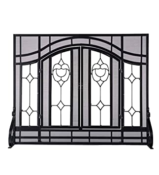Tremendous Small Beveled Glass Diamond Fireplace Screen With Alternating Panels And Small Powder Coated Tubular Steel Frame 38 W X 31 H Black Finish Download Free Architecture Designs Grimeyleaguecom