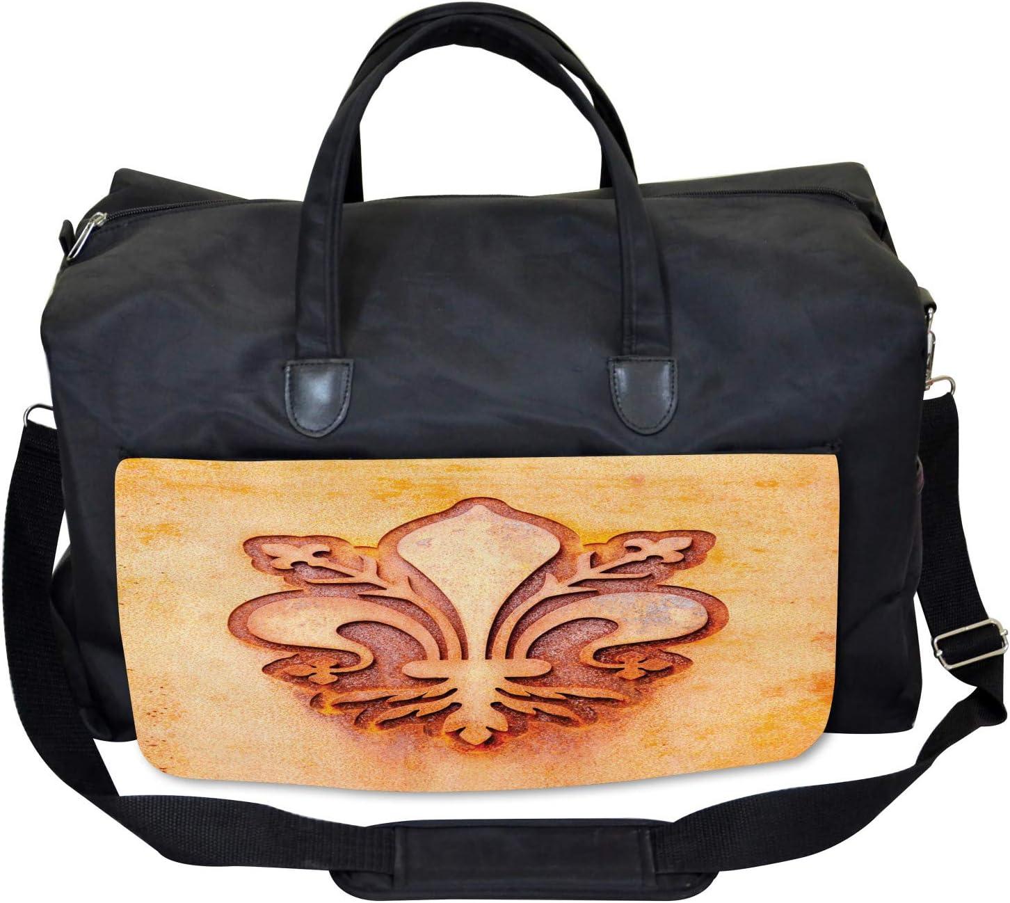 Floral Royal France Large Weekender Carry-on Ambesonne Orange Gym Bag