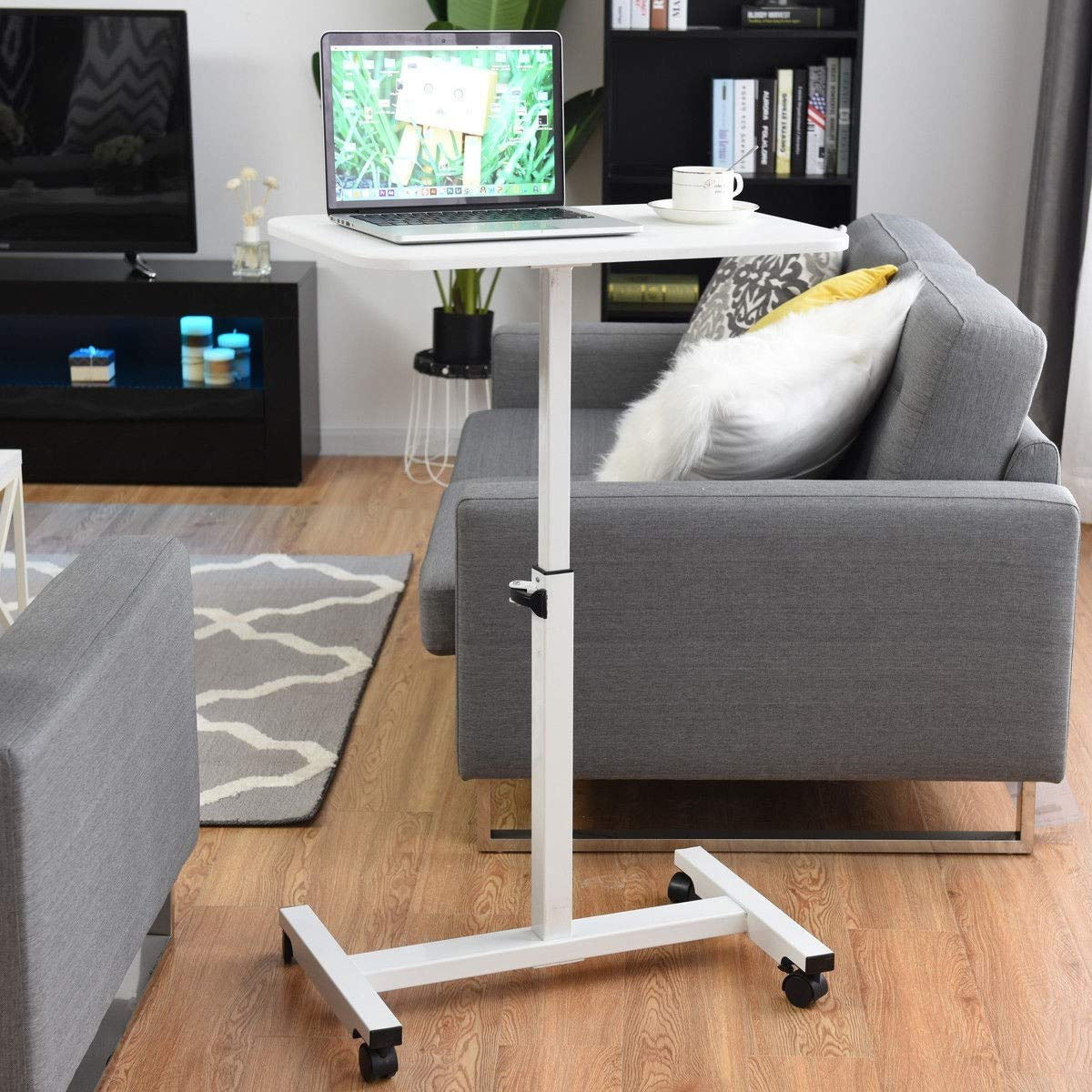 Adjustable Height Rolling Mobile Laptop Cart Stand Desk