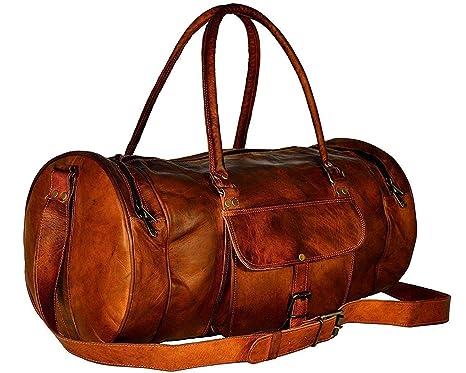 Piel Genuina Duffle Duffel Gym Bag Bolsa de Viaje de Equipaje Vintage Holdall Handmade