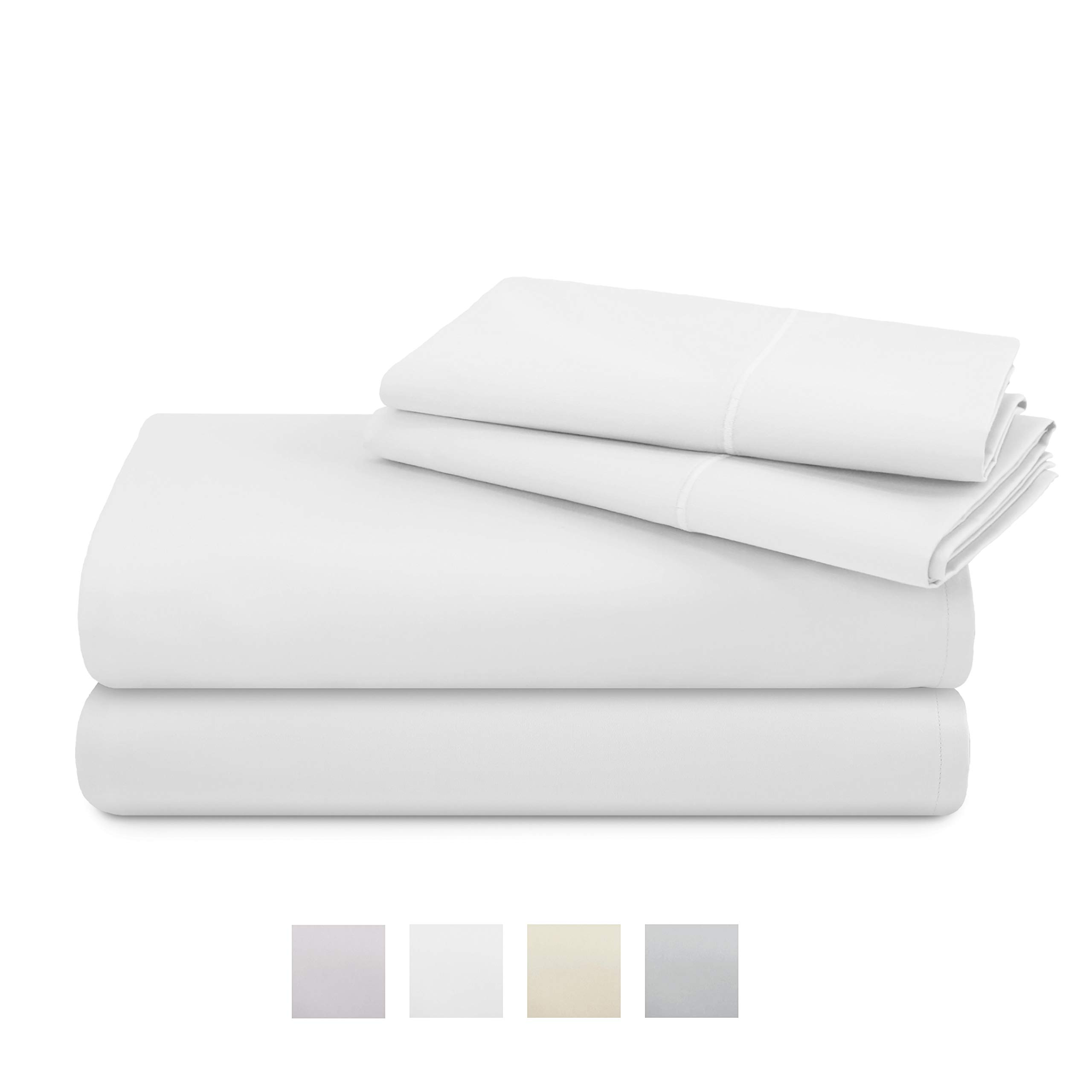 TRIDENT 600 Thread Count Queen sheets, 100% Cotton, Sateen Weave, deep pockets fit upto 20'', Wrinkle Resistant, Nectarsoft, 4 Piece Sheet Set, Techno-fit, Luxury Hotel Collection (Bright White, Queen)