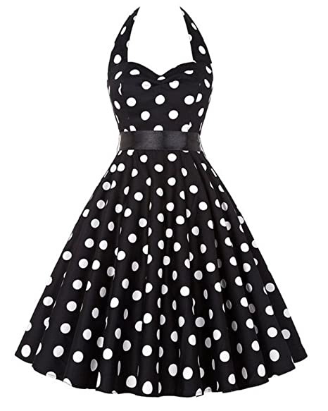 KennsGations Polka Dot Dress Women 2018 Vintage Big Swing Halter 50S 60S Summer Retro Party Dresses