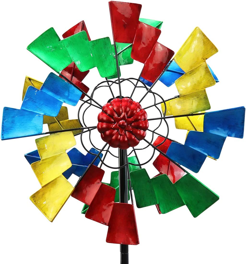 3D Kinetic Wind Spinners with Stable Stake Metal Garden Spinner with Reflective Painting Unique Lawn Ornament Wind Mill for Outdoor Yard Lawn Garden Decorations