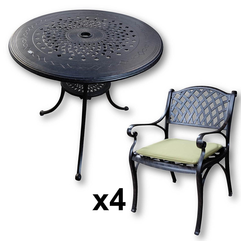 Lazy Susan Anna 80 Cm Runder Gartentisch Mit 4 Stuhlen
