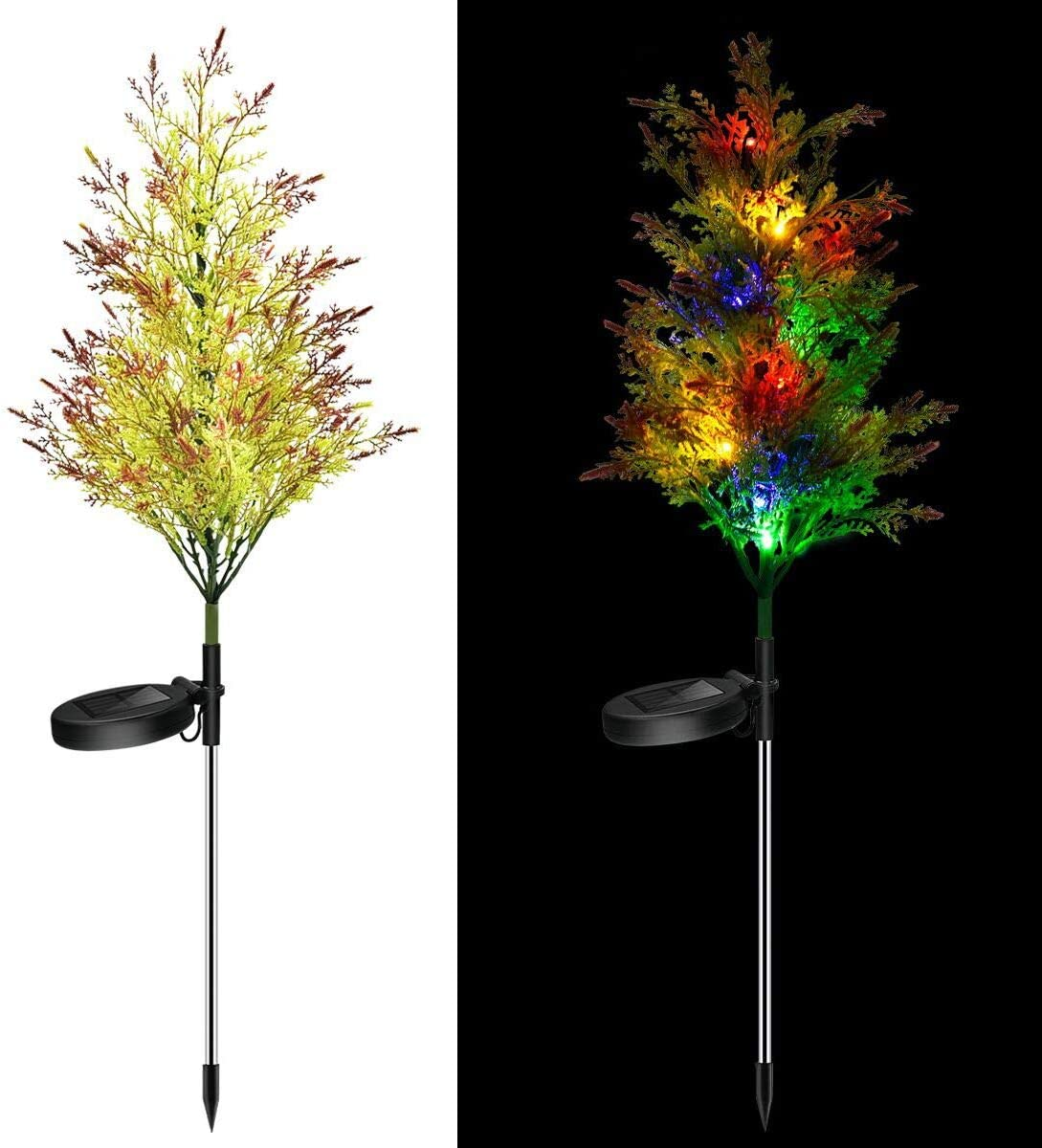 Accinouter Solar Lights Outdoor Decorative Christmas Garden Stakes Decorations In-Ground Path Light, Pine Tree Decor Lights for Garden Yard Patio Backyard,2 Pack