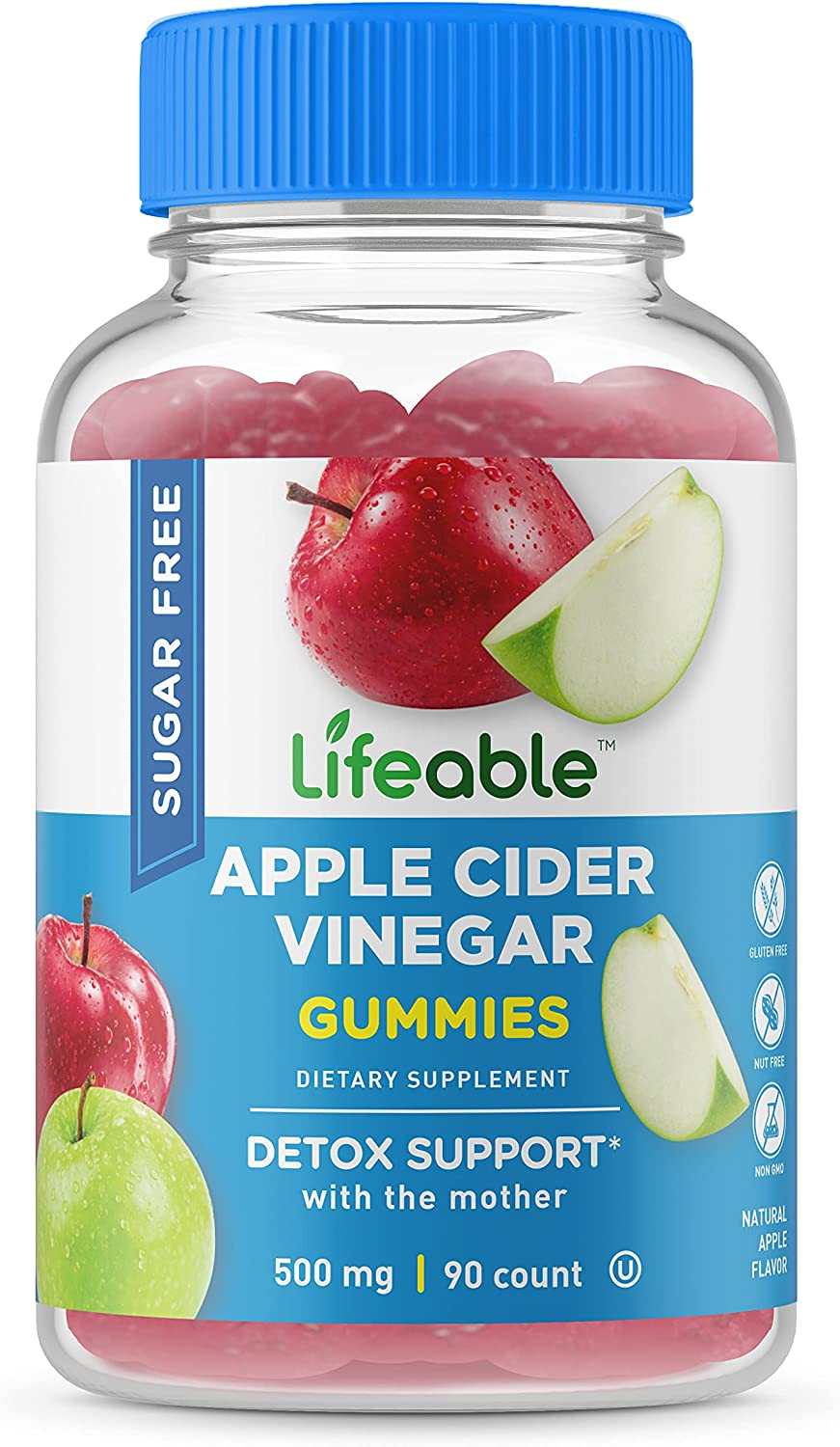 Lifeable Sugar Free Apple Cider Vinegar Gummies – ACV with The Mother – 500 mg – Great Tasting Natural Flavor Vitamin Supplements – Gluten Free Vegetarian – for Weight Loss – Adults – 60 Gummies
