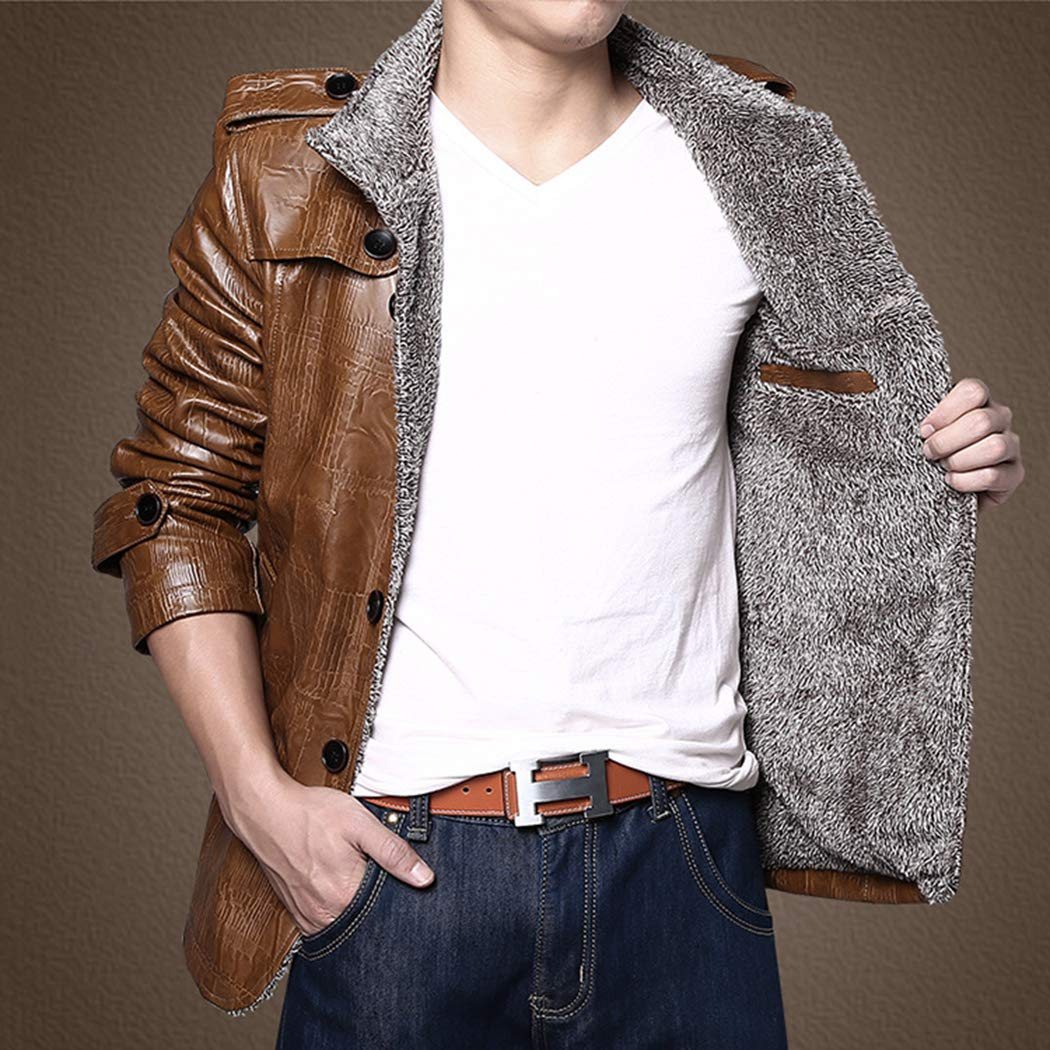 16820e778530 ... XWDA PU Leather Jacket Men Thicken Fur Lined Coat Warm Stand Collar  Vintage Outwear with Buttons ...