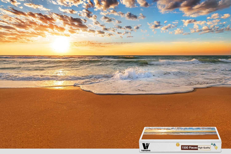 【人気商品】 PigBangbang、34.4 X B07HF8MGNQ Sea 22.6インチ、バスウッド製 - - Sunset Beach Coast Sea Wave砂 - 1500ピースジグソーパズル B07HF8MGNQ, ざいごうどん本家 わら家:308b6fc0 --- a0267596.xsph.ru