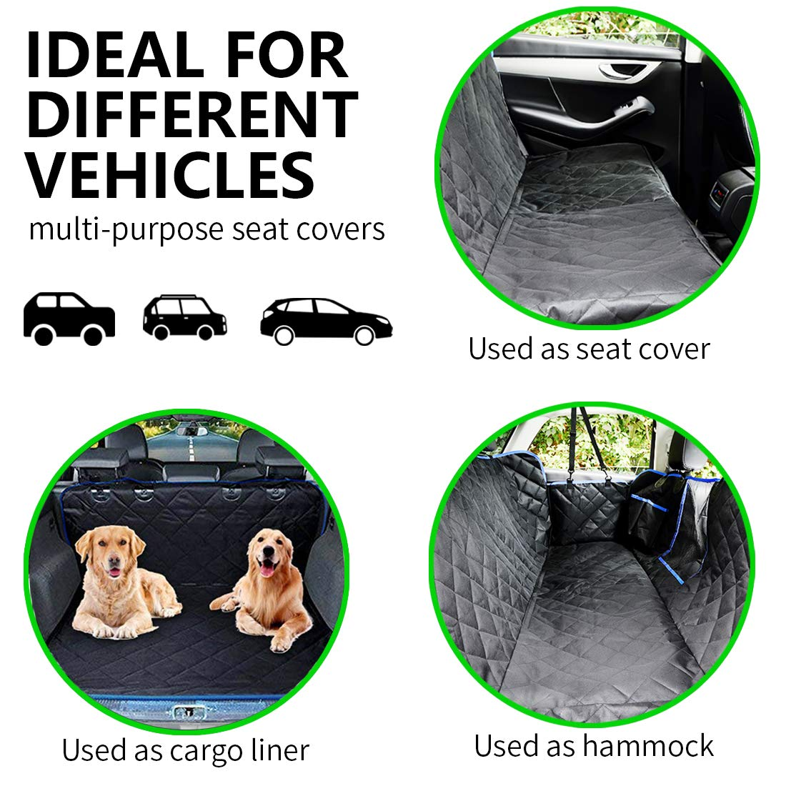 SUPSOO Dog Car Seat Cover Waterproof Durable Anti-Scratch Nonslip Back Seat Pet Protection Dog Travel Hammock with Mesh Window and Side Flaps for Cars/Trucks/SUV by SUPSOO (Image #4)