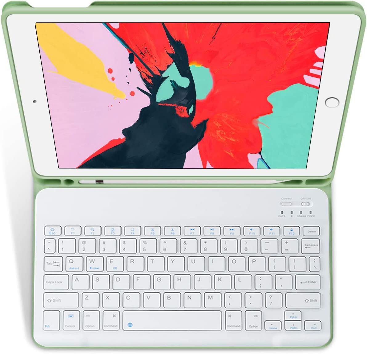 KenKe iPad 8th Generation 2020 Keyboard Case with Built-in Pencil Holder Cover 10.2,Magnetically Detachable Wireless Bluetooth Keyboard case for iPad 7th Generation 10.2 Inch iPad 7/8 Tablet-Green