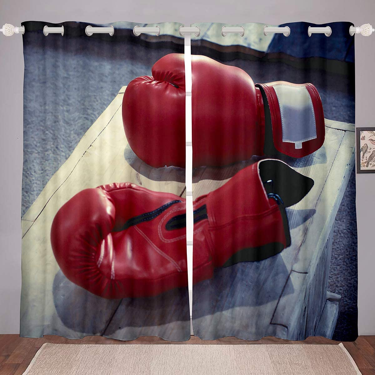 Castle Fairy Boxing Gloves Red Window Curtains for Girls Boys Window Curtains Sport Brown Yellow Darkening Curtains for Bedroom Living Room Home Decor 2 Panel Set,84Wx84L inch