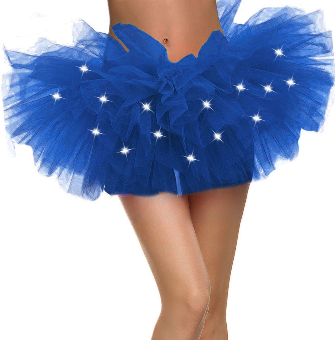 Blue Tutu Women's LED Light Up Neon 5 Layered Tulle Tutu Skirt, Royal Blue
