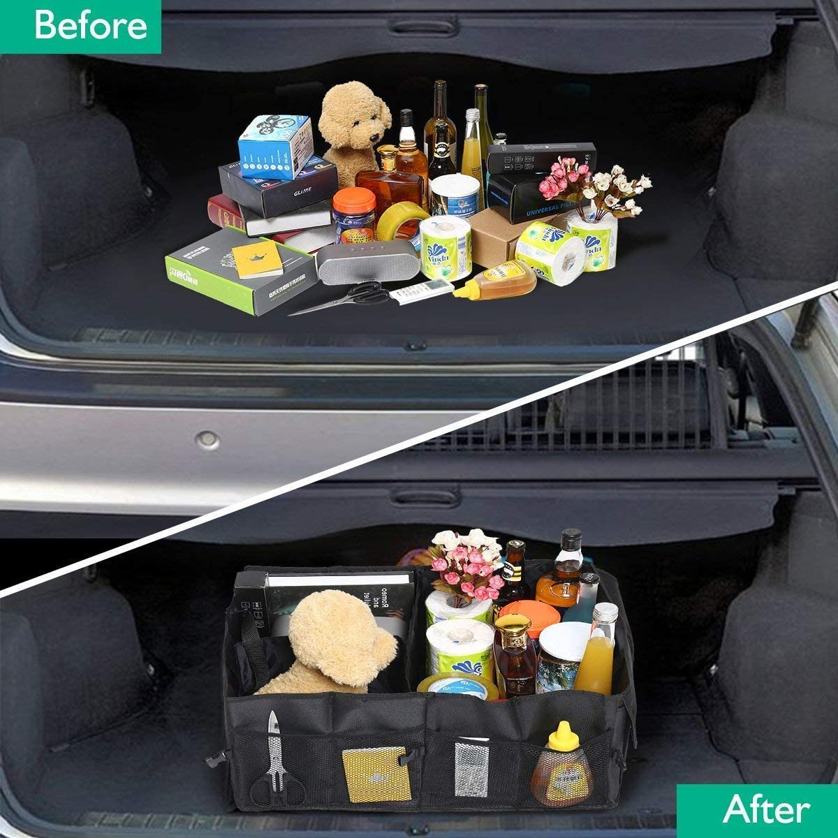 Premewish Car Boot Organiser Trunk Organiser Auto Storage Organizer Car Truck Storage Bag Car Boot Bag Foldable Oxford Fabric Trunk Storage Box for Car Truck SUV and Indoor