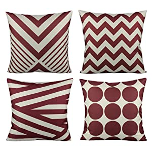 All Smiles Burgundy Christmas Red Throw Pillow Covers Cases Outdoor Decorative Cushion Home Accent Decor 18 x 18 Set of 4 for Couch Sofa Patio