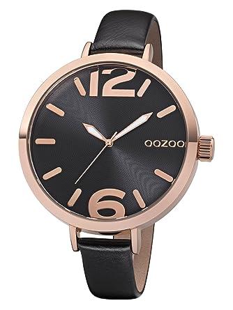 Damenuhren schwarz rosegold  Oozoo Damenuhr mit Lederband 48 MM Rose/Schwarz/Schwarz C8394 ...