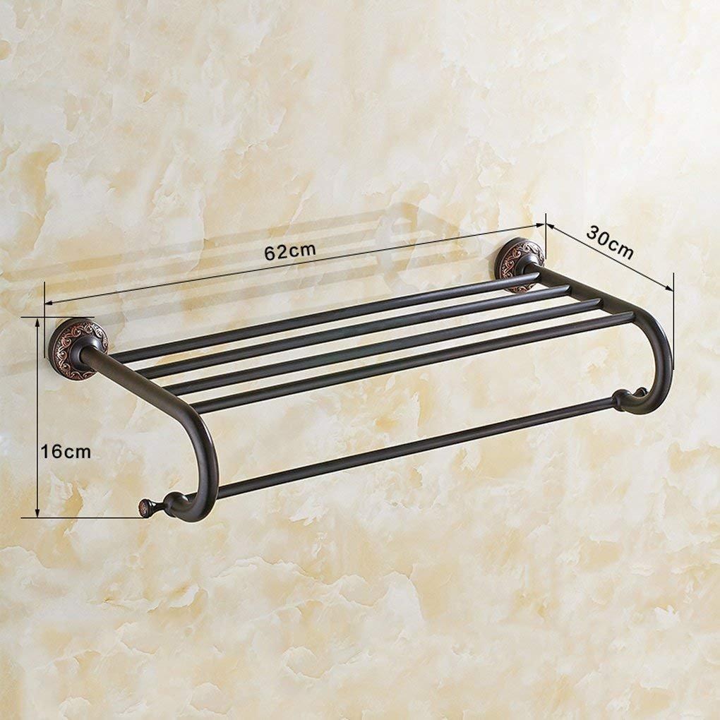 JU Toallero Negro Completo Cobre Antiguo Toallero Rack monocapa baño Toalla Estante baño Pared baño baño Toalla Barra Set