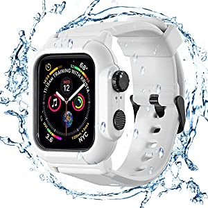 Waterproof Case for Apple Watch Series 42mm 44mm,Rugged Shockproof Impact Resistant 360°Protective Cover Case with Premium Soft Silicone Band Compatible with iWatch Series 5/4/3/2/1 (White, 42mm)
