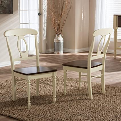 Baxton Studio Napoleon Cottage Dining Chair In Cream (Set Of 2)