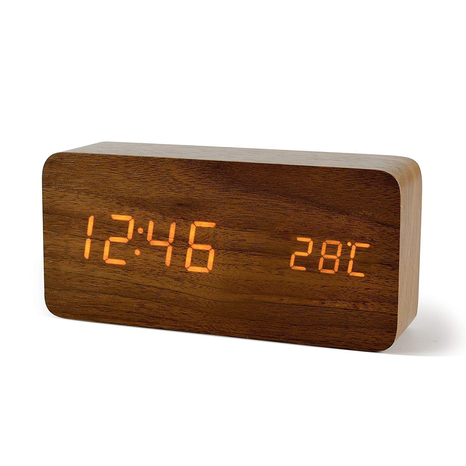 URayTech Desk Clock Rechargeable Digital Alarm Clock small Wood LED Clock Date/Temperature Display Walnut