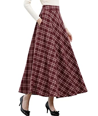 bef0e9b67f Femirah Women's Fall Winter Elastic Waist Vintage A Line Plaid Long Skirts  One Size (W74