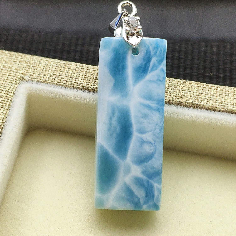 DUOVEKT Genuine Natural Blue Larimar Water Pattern Dominica Women Necklace Pendant 32x13x7mm AAAA
