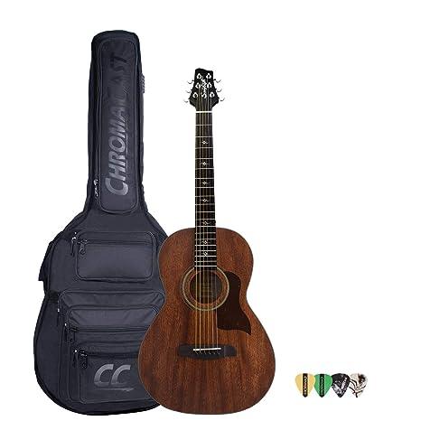 Diente de Sierra serie de caoba sólida caoba parte superior guitarra electroacústica Parlor Guitarra con carcasa