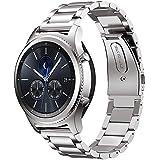 MroTech 22mm Cinturino di ricambio compatibile per Samsung Gear S3 Frontier / Classic, Galaxy Watch 46mm, Amazfit, Huawei Watch 2 Classic e più orologi Cinturino in acciaio inossidabile Band (Argento)